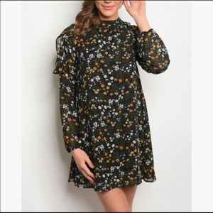 Very J Boho Floral Dress Black With Floral Print